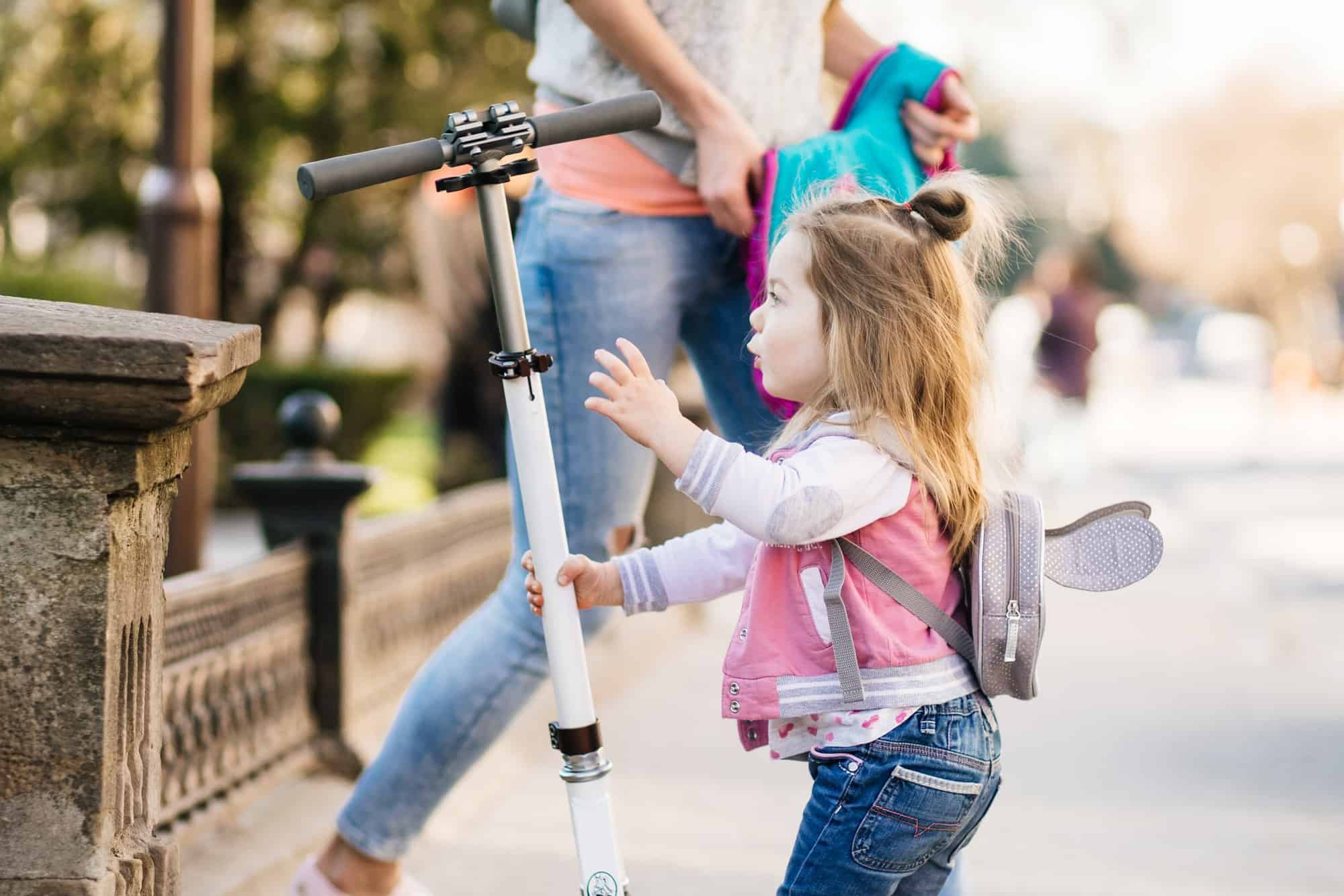 Little girl and scooter